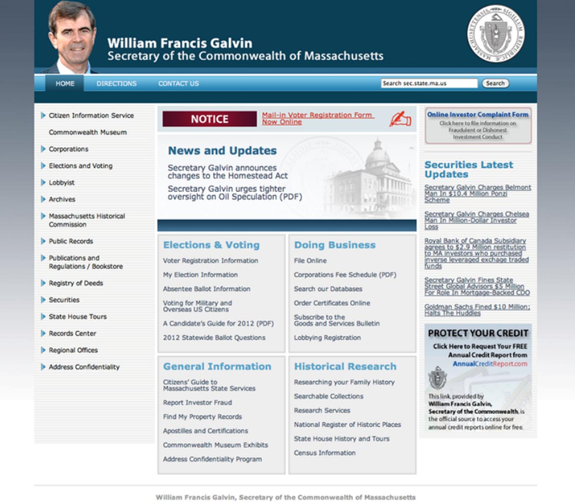 Massachusetts Secretary of State Website